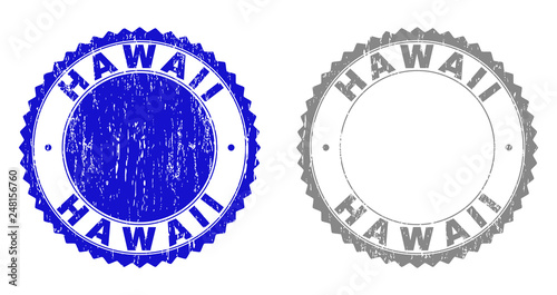 Grunge HAWAII Stamp Seals Isolated On A White Background Rosette With Distress Texture In