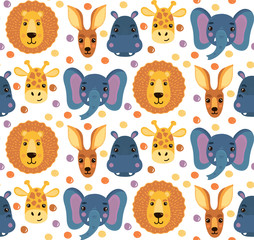 Cute animal faces seamless vector pattern