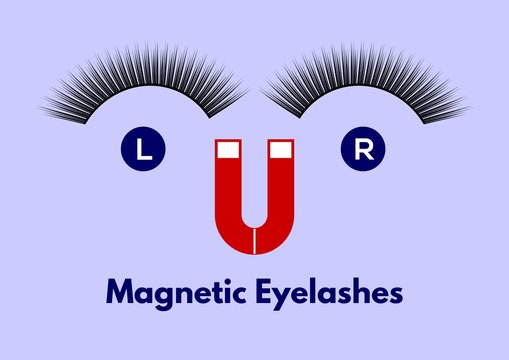 Magnetic eyelashes. Vector illustration.