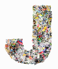 newspaper letter J