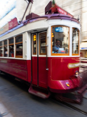 historic old tram for electric through the streets of Lisbon, Lisbon, Portugal, July 2017