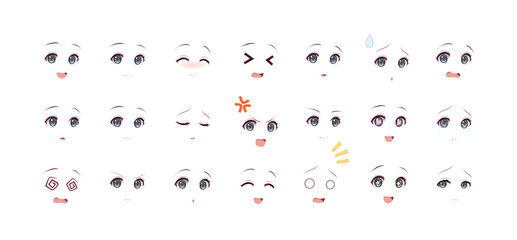 Emotions dark eyes of anime manga girls