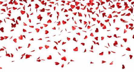 Heart shape, valentines, confetti falling down isolated on white background with copy space