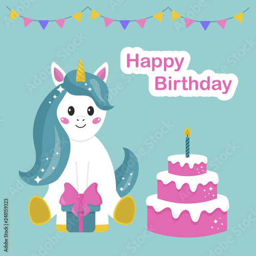 Happy Birthday Greeting Card With Cute Cartoon Unicorn Cake And Gift Vector Illustration
