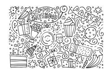 Hand-drawn set of Birthday ink doodles. Happy Birthday greeting card. Monochrome