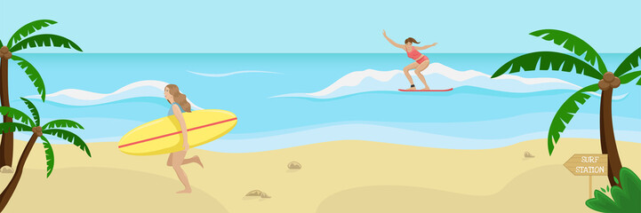 Girl on the beach in a swimsuit running with a surf in his hands, the girl surfing on the waves. Flat vector illustration.