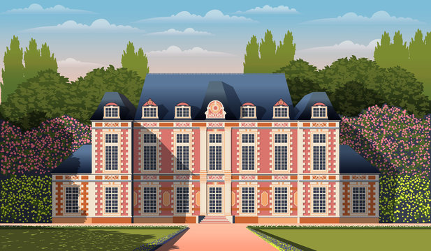 Medieval romantic old mansion with garden, flowering shrubs and trees. Flat design