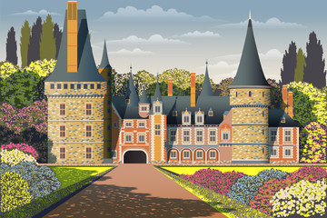 Medieval old gothic castle with a bridge, Park, flowering shrubs and trees. Flat design.