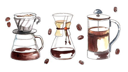 Watercolor hand-painted coffee kemex, hario and french press illustration set on white background