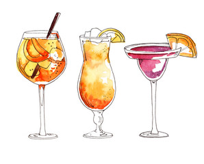 Watercolor hand painted cocktail Spritz, Sex on the beach and Cosmopolitan simple sketch illustration set on white background