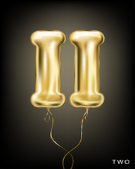 Roman 2 number, gold foil balloon II form