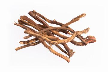 Medicinal roots de zarzaparrilla - Smilax aspera. Top view