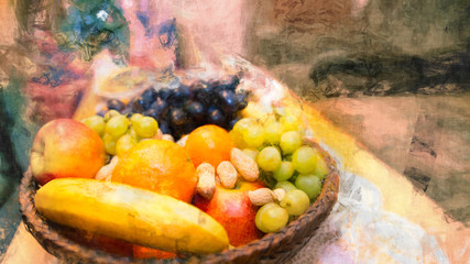 Fruits in a wicker basket. Artistic still life. Colorful fruit pile from juicy apples, banana, oranges, grapes and peanuts. Abstract background with pattern, painting effect and surreal festive mood.