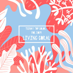 Colorful hand-drawn background in living coral tones.Trendy top color for 2019. Vector illustration.
