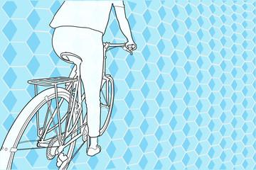 Montando en bicicleta sobre fondo abstracto