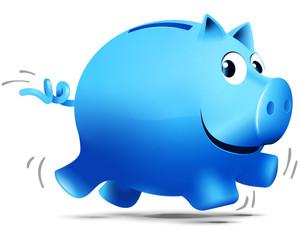 Blaues rennendes Sparschwein
