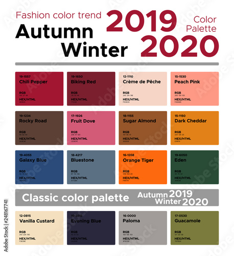 Fashion color trend Autumn Winter 2019-2020 and classic