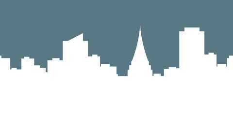 Megalopolis background.Seamless border with cute urban cityscape in white color : silhouettes of modern houses, buildings and Church or Cathedral on the blue background. Vector illustration