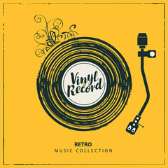 Vector music poster in form of or yellow cover with old vinyl record, record player and calligraphic lettering in retro style