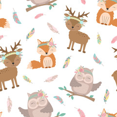 Seamless boho pattern. Vector image on national American motifs. Illustration of a hand-drawn fox, deer and owl with feathers. For print, background, textile, holiday, children, baby, birthday, party