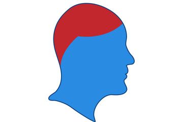Dolor de cabeza, en silueta de cara.