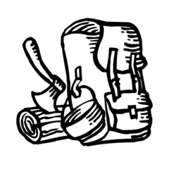 Rucksack and ax and wood, tramp and scout symbol, pen drawing black and white