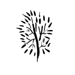 Tree silhouette. Hand drawn vector illustration.