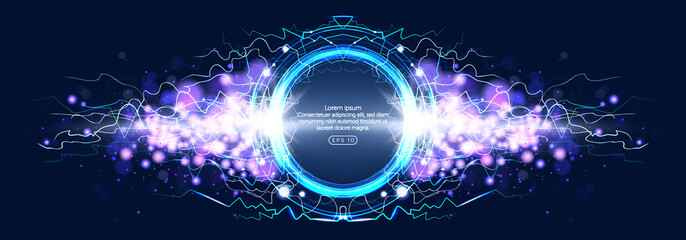 Luminous electric circle lightning atmospheric phenomenon realistic image on dark night sky blue decorative background vector illustration. Party poster or flyer abstract high voltage layout.