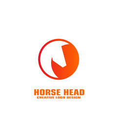 Horse head icon, horse graphic logo template, circle design.