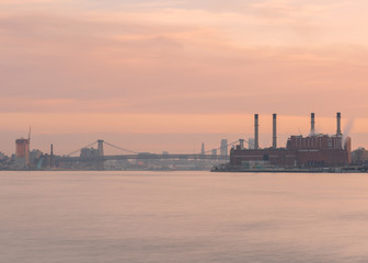 East river view at sunset with long exposure