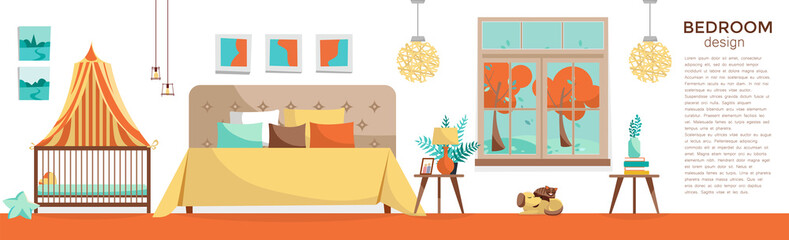Panoramic horizontal banner with bedroom furniture: double bed, baby bed with canopy on white background. Room with bed and cot. Nursery and bedroom interior. Flat cartoon style vector illustration.