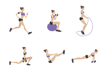 Set of female in fitness poses