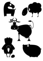 Cartoon farm animal silhouettes collection for design. Comic farm animal silhouettes black on white illustration