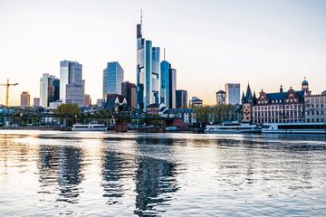 View of Frankfurt am Main, skyline at dusk, Germany, Europe
