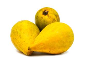 Egg fruit, Canistel, Yellow Sapote isolated on white background.