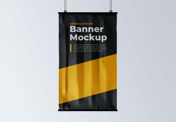 Vertical Hanging Banner Mockup