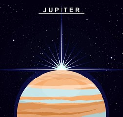 Image of the planet Jupiter. The fifth planet of the solar system. Science and education. Flat style. Cartoon.