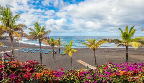 Wall mural Landscape with Playa Jardin on Puerto de la Cruz, Tenerife island, Spain