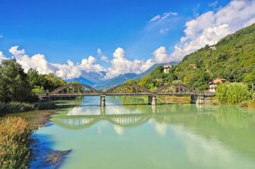 Comer See Kanal zum Lago di Mezzola in Italien - Lake Como canal to Lago di Mezzola
