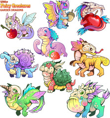 Cute, small, cartoon, garden dragons, set of funny images
