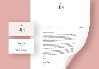 Letterhead and Business Card Layout with Leaf Illustration