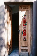 Christmas door in summer