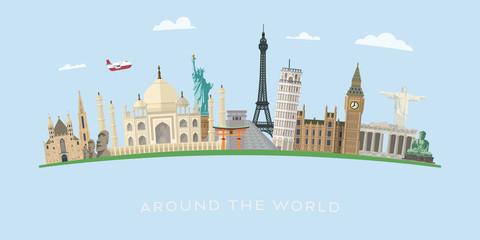 World travel with international landmarks vector banner