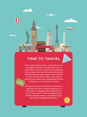 World travel vector layout template with international landmarks
