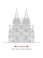Cologne Cathedral Vector illustration