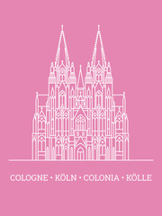 Cologne Cathedral Poster Vector illustration