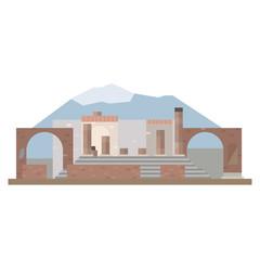 Pompeii ruins and Mount Vesuvius, Italy flat design vector Icon
