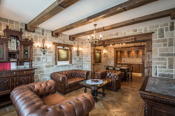 Classic living room, wooden and stone