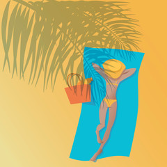 The girl sunbathes on the shores of the tropical sea. Shadow from palm leaves. Sunscreen in the bag. Vector illustration