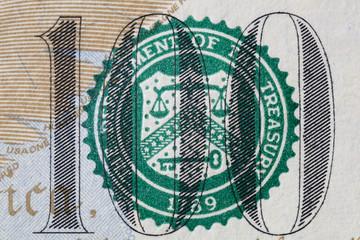 fragment of dollar bill